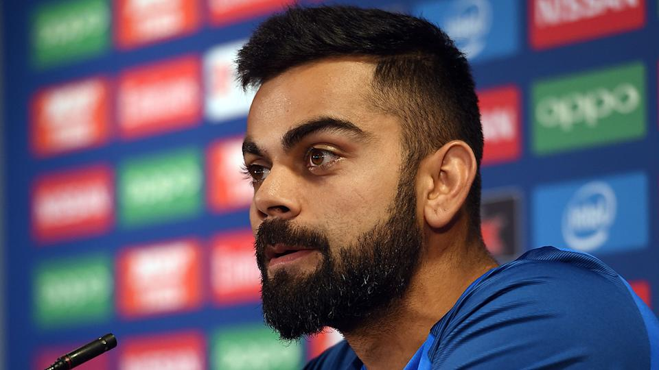 Virat Kohli is pictured during a press conference.