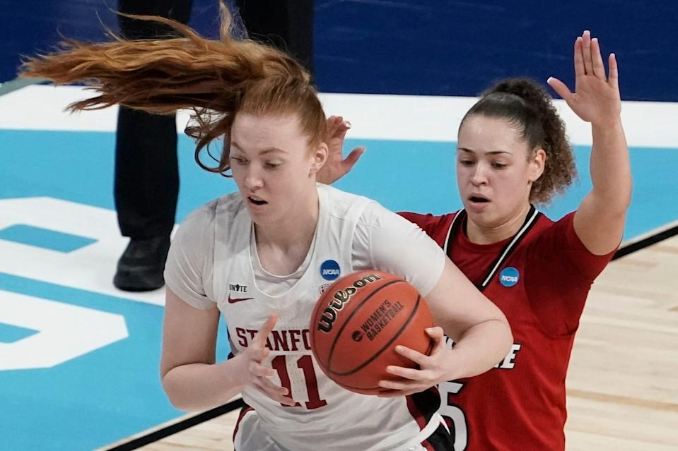 Ashten Prechtel (11) came off the bench to score 16 points in Stanford's Elite 8 win over Louisville.