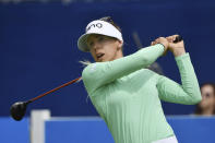 Pernilla Lindberg of Sweden watches her shot off the 9th tee during the first round of the LPGA Walmart NW Arkansas Championship golf tournament, Friday, Sept. 24, 2021, in Rogers, Ark. (AP Photo/Michael Woods)