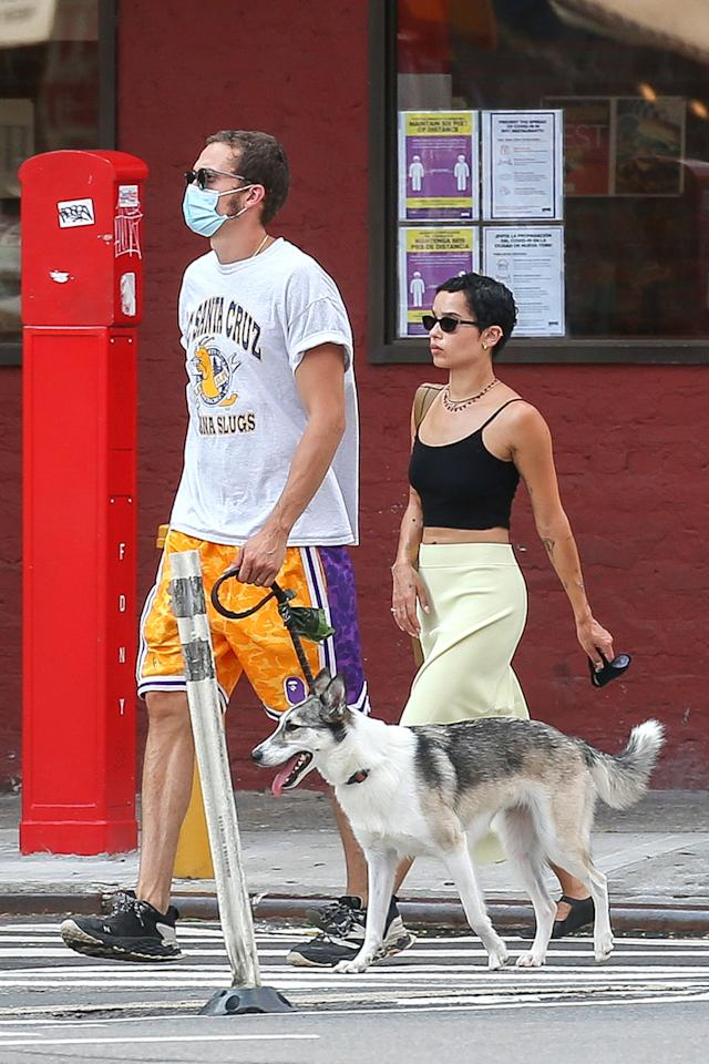 <p>Zoë Kravitz and husband Karl Glusman were spotted taking their dog for a walk in New York City.</p>