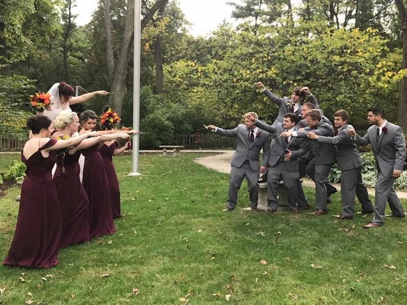 Members of the bridal party face off.