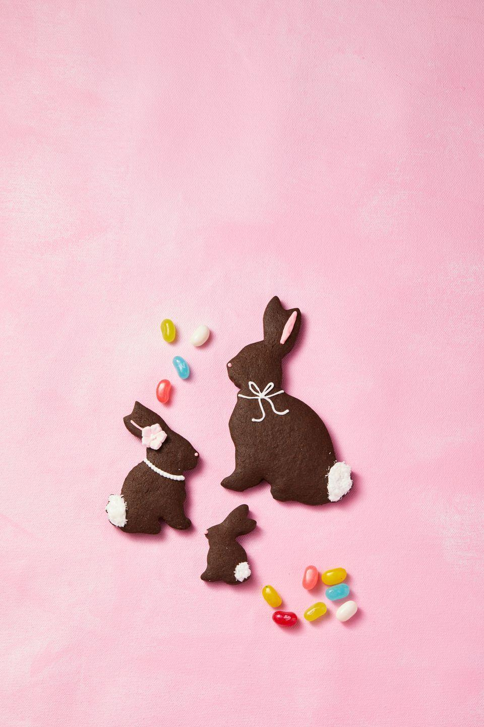"<p>Decorate baked bunny-shaped <a href=""https://www.goodhousekeeping.com/food-recipes/a35396698/chocolate-sugar-cookies-recipe/"" rel=""nofollow noopener"" target=""_blank"" data-ylk=""slk:chocolate sugar cookies"" class=""link rapid-noclick-resp"">chocolate sugar cookies</a> with icing and, before it has set, sprinkle on shredded-coconut tails.</p>"