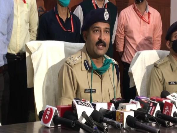 DIG Harinarayan Mishra addressing a press conference in Indore on Friday.