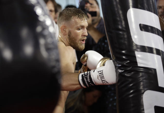The president of the Association of Ringside Physicians is concerned about Conor McGregor's health in his Saturday fight against Floyd Mayweather. (AP)