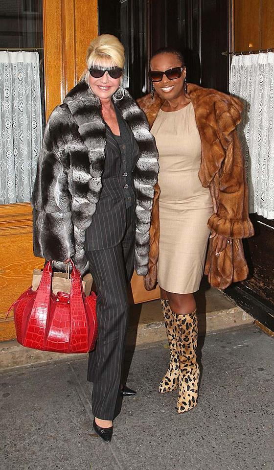 "Somebody call PETA! While you're at it, call the fashion police! Why? Because BFFs Ivana Trump and Star Jones need to be locked up for various violations. Lawrence Schwartzwald/<a href=""http://www.splashnewsonline.com"" target=""new"">Splash News</a> - December 9, 2008"