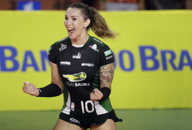 Tiffany Abreu is Brazil's first transgender person to play in the top volleyball league for women. (AP Photo)