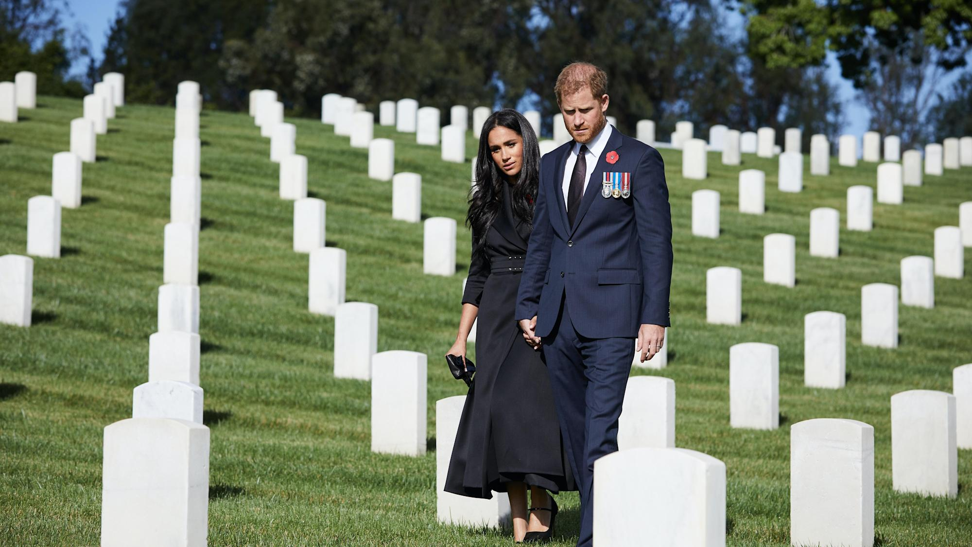 Harry and Meghan visit Los Angeles National Cemetery to mark Remembrance Sunday