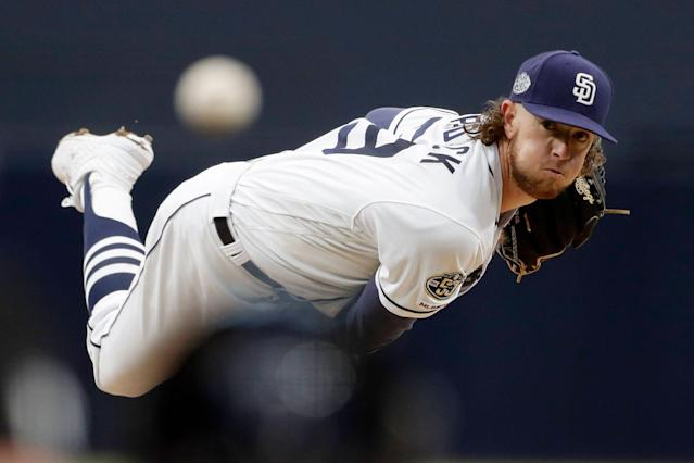 "<a class=""link rapid-noclick-resp"" href=""/mlb/teams/san-diego/"" data-ylk=""slk:San Diego Padres"">San Diego Padres</a> pitcher <a class=""link rapid-noclick-resp"" href=""/mlb/players/10575/"" data-ylk=""slk:Chris Paddack"">Chris Paddack</a> is likely to see some regression, but he's been among baseball's best starters so far this season. (AP Photo/Gregory Bull)"