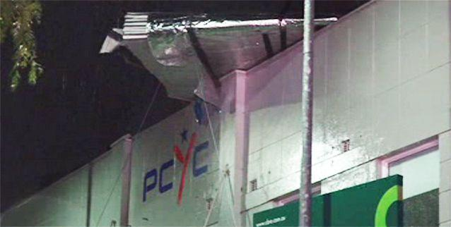 Winds ripped the roof off a PCYC in Burwood, Sydney. Photo: 7News
