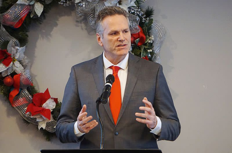 FILE PHOTO: Alaska Governor Mike Dunleavy speaks at the Petroleum Club in Anchorage
