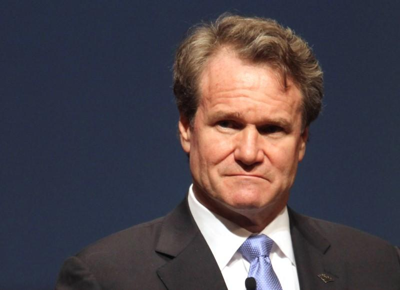 Bank of America CEO Moynihan looks on during the White House summit on cybersecurity and consumer protection in Palo Alto