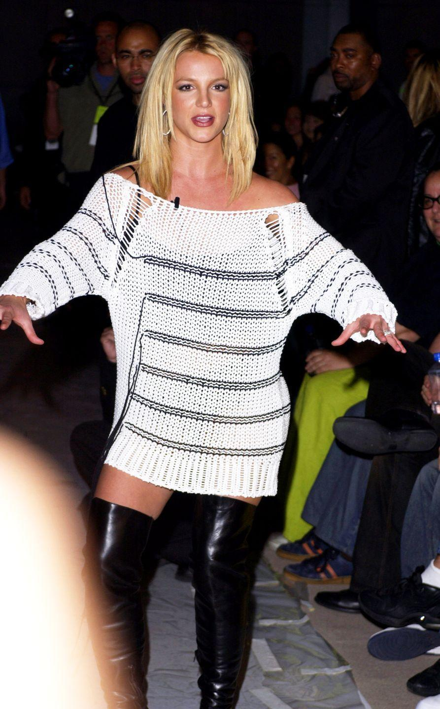 <p>The best part of this sheer outfit is the extra <em>Pretty Woman</em> boots and the fact that Britney wore this to sit front row at a New York Fashion Week show.</p>