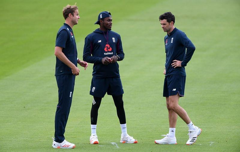 The fearsome pace trio of England: Broad, Archer and Anderson.