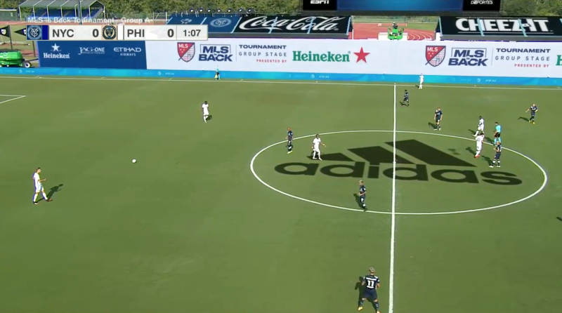 Don't hate the giant Adidas logo superimposed on MLS broadcasts. Embrace it. (Via ESPN/Henry Bushnell)