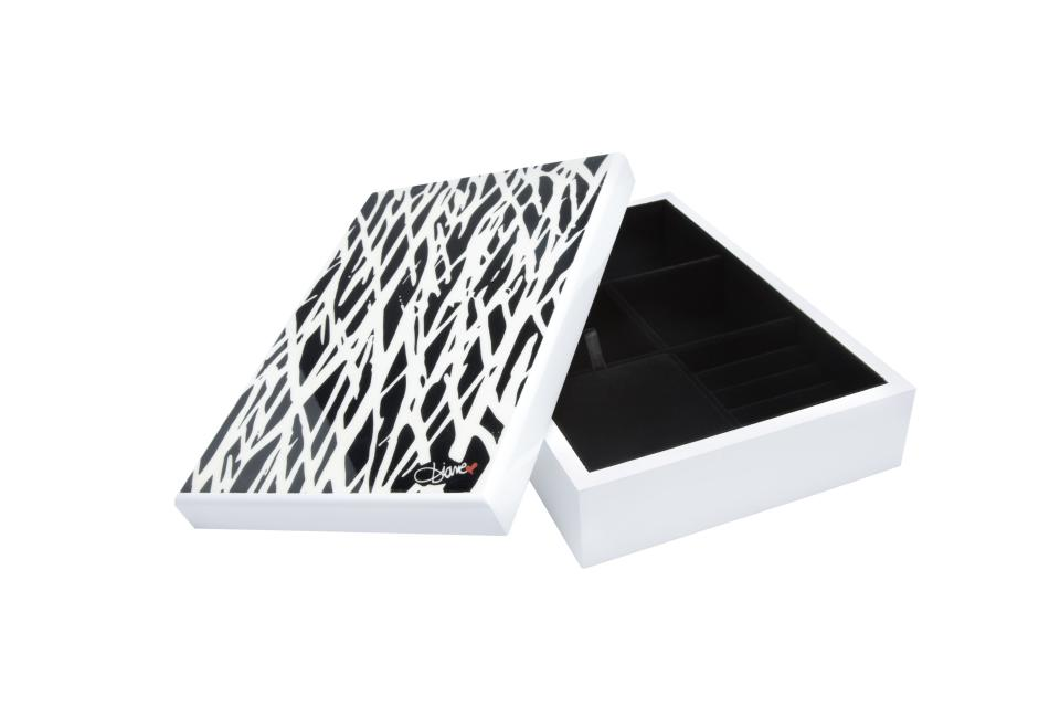 <b>Diane von Furstenberg for Target + Neiman Marcus Jewelry Box</b><br><br> Price: $49.99<br><br> The lacquer, black and white box comes in one of the designer's signature prints. <br><br>