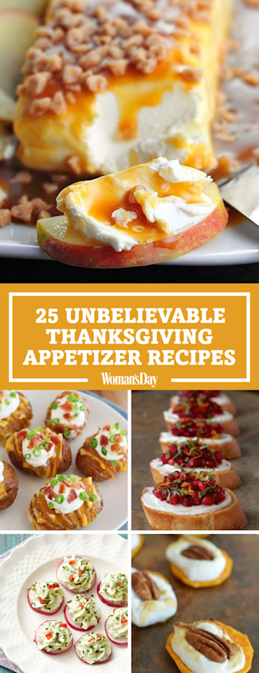"""<p>Save these Thanksgiving appetizer ideas for later by pinning this image and follow Woman's Day on <a rel=""""nofollow"""" href=""""https://www.pinterest.com/womansday/"""">Pinterest</a> for more.<span></span></p>"""
