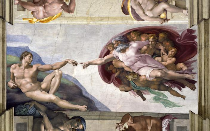 'The Creation of Adam' by Michelangelo as painted on the ceiling of the Sistine Chapel - FOTO SERVIZIO FOTOGRAFICO MUSEI VATICANI