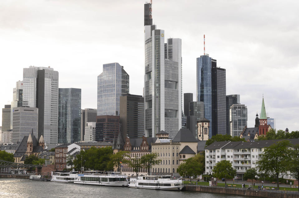 A picture taken on August 26, 2020 shows the skyline in Frankfurt am Main, Germany. (Photo by THOMAS KIENZLE / AFP) (Photo by THOMAS KIENZLE/AFP via Getty Images)