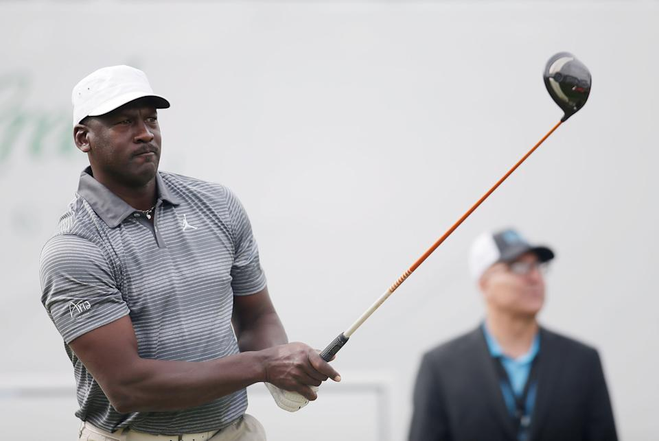A game of golf made Michael Jordan four hours late for an important meeting with Nike, but that led him to stay with the company instead of signing elsewhere. (Photo by Isaac Brekken/Getty Images for Michael Jordan Celebrity Invitational)