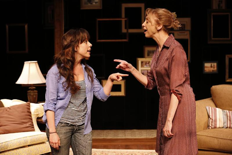 "This theater publicity image released by Richard Kornberg & Associates shows Leslie Kritzer, left, and Catherine Cox, in a scene from the Transport Group production of the musical, ""The Memory Show"", currently performing off-Broadway at The Duke on 42nd Street in New York.  (AP Photo/Richard Kornberg & Associates, Carol Rosegg)"