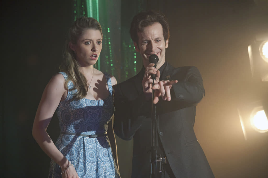 "Annie Abrams and Denis O'Hare in the ""True Blood"" episode, ""In the Beginning."""