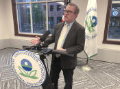This photo taken Sept. 30, 2020, shows U.S. Environmental Protection Agency chief Andrew Wheeler during an appearance in Traverse City, Mich., where he announced an environmental justice grant for Detroit and pledged a more community-oriented focus in a second Trump administration. (AP Photo/John Flesher)