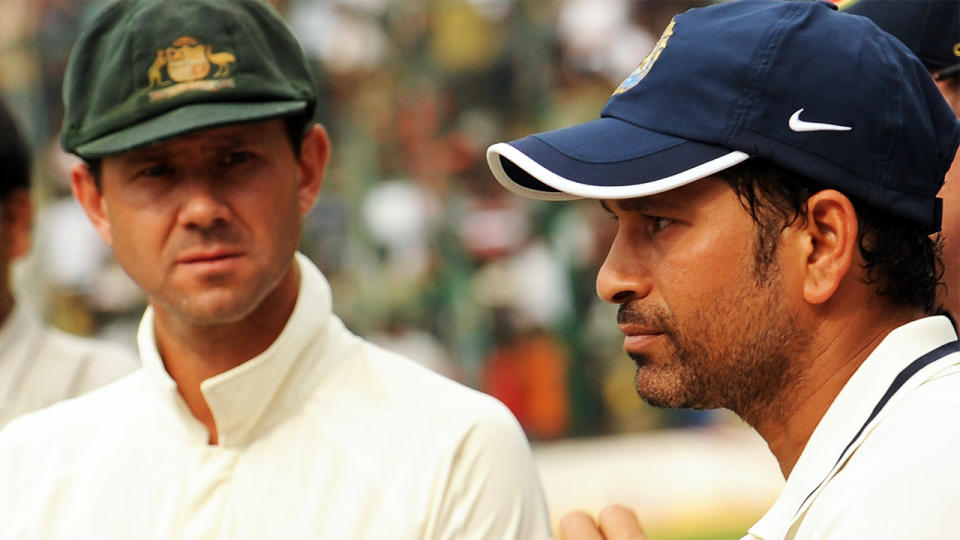 Shane Warne named Sachin Tendulkar (pictured right) as the best batsman of his era, followed by Brian Lara and leaving out Aussie legend Ricky Ponting (pictured left). (Getty Images)