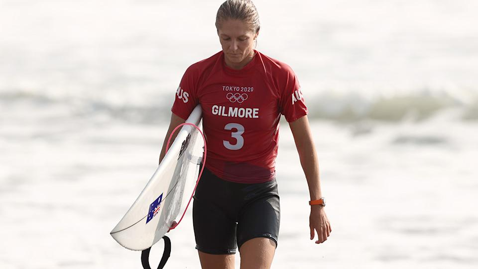 Stephanie Gilmore, pictured here after losing her third-round heat at the Olympics.