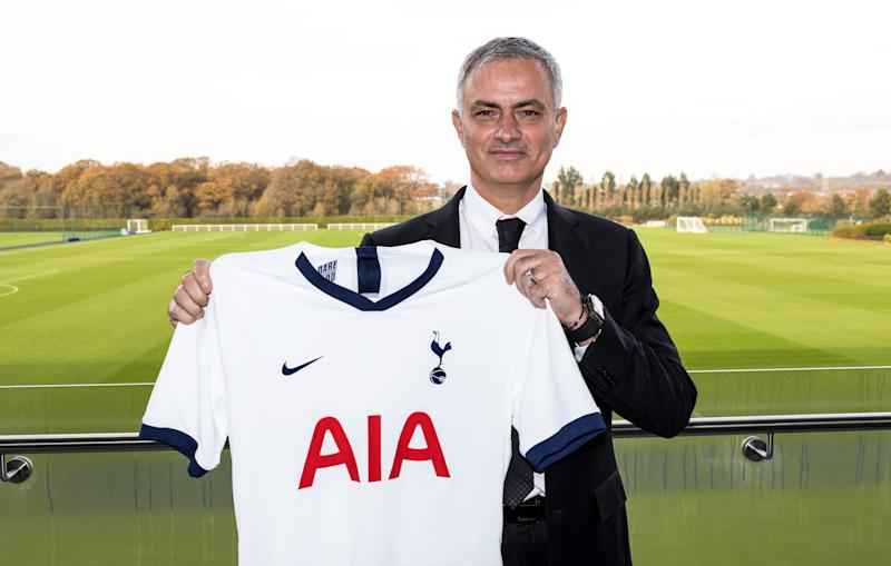 Tottenham Hotspur manager Jose Mourinho was introduced on Wednesday. (Photo by Tottenham Hotspur FC/Tottenham Hotspur FC via Getty Images)