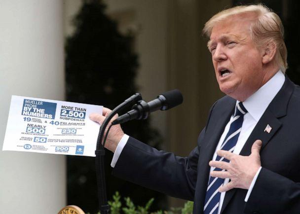 PHOTO: President Donald Trump speaks about Robert Mueller's investigation in the Rose Garden at the White House, May 22, 2019, in Washington. (Mark Wilson/Getty Images)