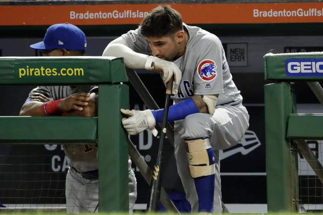 FILE - In this Sept. 25, 2019, file photo Chicago Cubs' Nicholas Castellanos stands on the dugout steps during the ninth inning of a baseball game against the Pittsburgh Pirates in Pittsburgh. Castellanos agreed to a $64 million, four-year deal Monday in the Cincinnati Reds' latest big-money move to emerge from years of losing, a person familiar with the deal told The Associated Press on Monday, Jan. 27, 2020. (AP Photo/Gene J. Puskar, File)