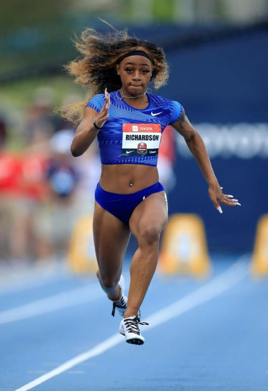 American Sha'Carri Richardson, seen here in 2019, notched another impressive 100m victory with a 10.77sec win into a headwind at the USA Track and Field Golden Games in Walnut, California