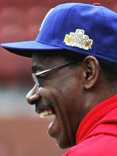 Rangers manager Ron Washington has a laugh during practice leading up to Game 1 of the World Series in St. Louis