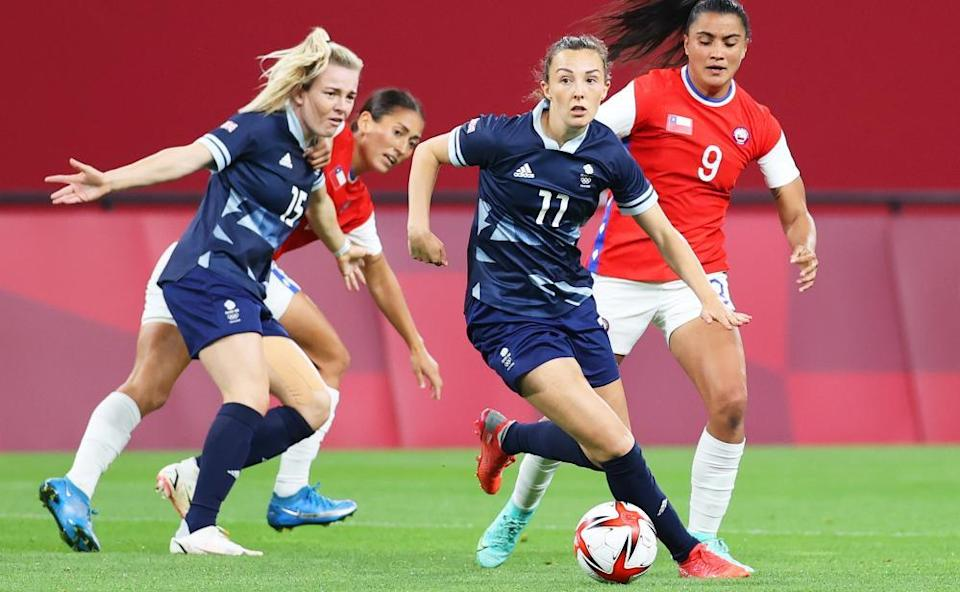 Caroline Weir in action against Chile at the Sapporo Dome, which she describes as 'one of the coolest places I've ever played'.