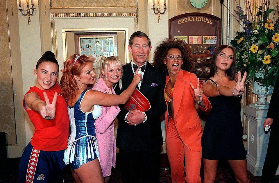 <p><strong>When? </strong>May, 1997</p><p><strong>Where? </strong>Manchester Opera House</p><p><strong>What?</strong> Posing with Prince Charles (who has a lipstick mark on his face) to celebrate the 21st anniversary of the Prince's Trust.</p>