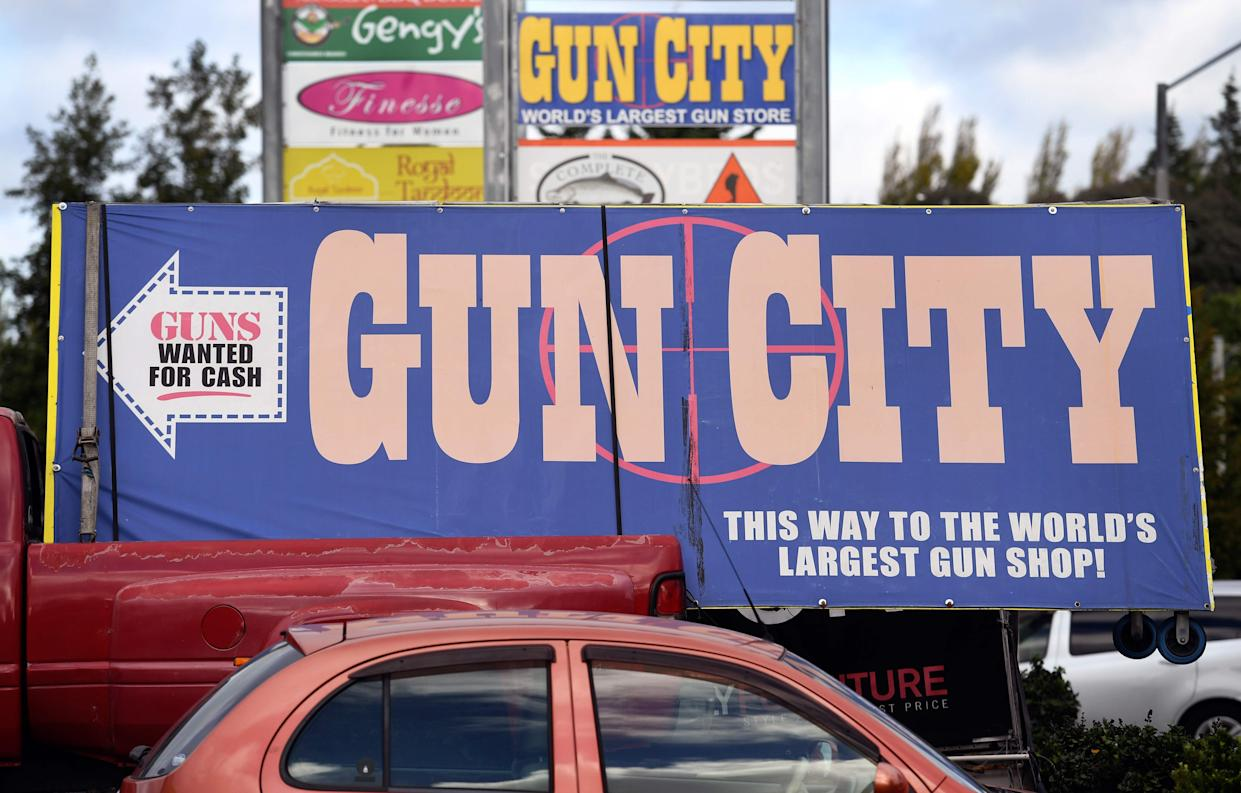 Signs point towards a gun shop in Christchurch, New Zealand, on March 21, 2019, claiming to be the world's largest gun shop.