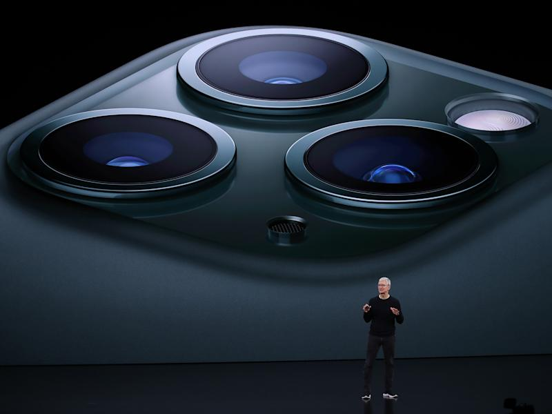 Apple CEO Tim Cook unveils the iPhone 11 Pro during the 2019 event in Cupertino, California (Getty Images)