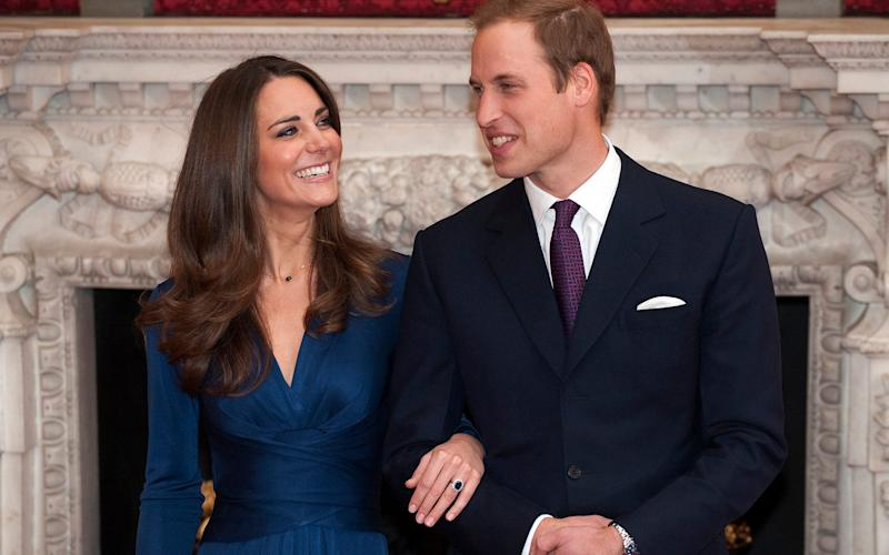 Catherine Middleton with her future husband Prince William in November 2010 showing off her blue sapphire engagement ring, previously belonging to Diana, Princess of Wales,  - Credit: Eddie Mulholland/The Telegraph