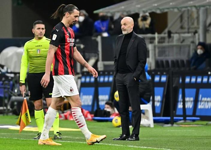 Milan forward Zlatan Ibrahimovic was sent off in the second half