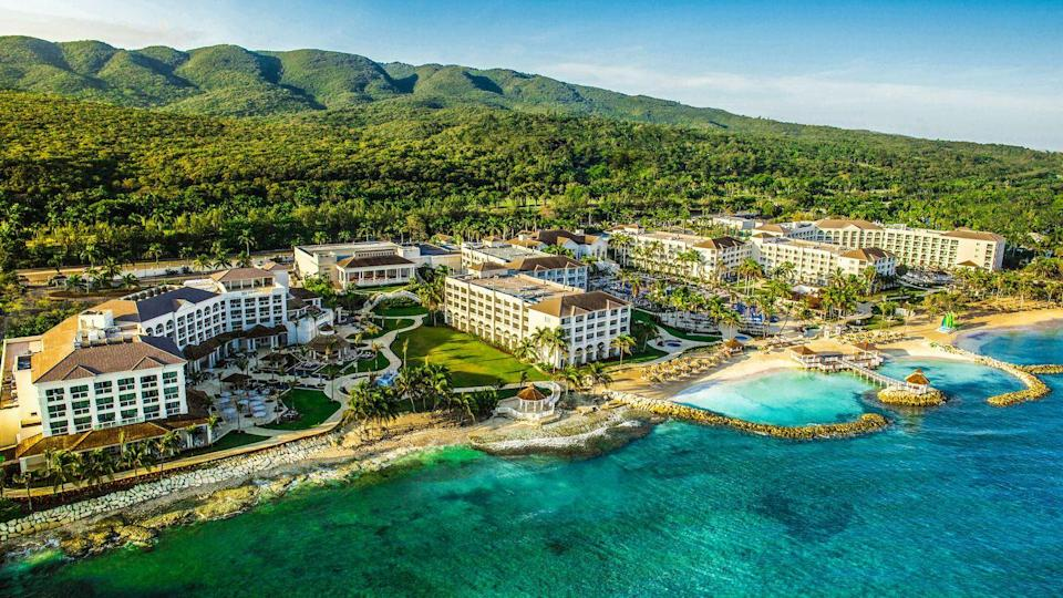 """<p>Hyatt's Ziva Collection of resorts in Dominican Republic, Jamaica, and Mexico offer exciting all-inclusive vacations for the entire family. We're especially smitten with the <a href=""""https://www.hyatt.com/en-US/hotel/jamaica/hyatt-ziva-rose-hall/mbjif"""" rel=""""nofollow noopener"""" target=""""_blank"""" data-ylk=""""slk:Hyatt Ziva Rose Hall"""" class=""""link rapid-noclick-resp"""">Hyatt Ziva Rose Hall</a> property in Montego Bay, which features endless Caribbean fun through catamaran excursions, snorkeling, and water sports.</p><p>The resort's KidZ Club allows parents to take a break at the relaxation pool, lounge in a private cabana, or enjoy an oceanfront massage. The property houses 277 rooms and suites, the latter of which feature swim-up, butler-serviced, and other premium amenity options. </p>"""