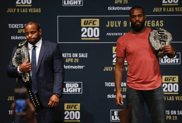 Daniel Cormier (L) and Jon Jones were supposed to have their rematch at UFC 200. (Getty)