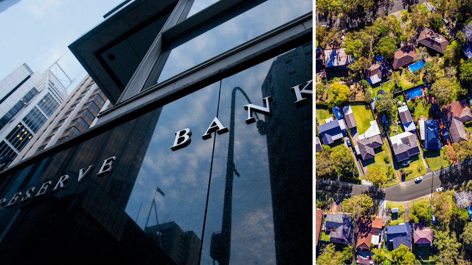 The Reserve Bank sign on the RBA building and an aerial shot of houses in Australia.
