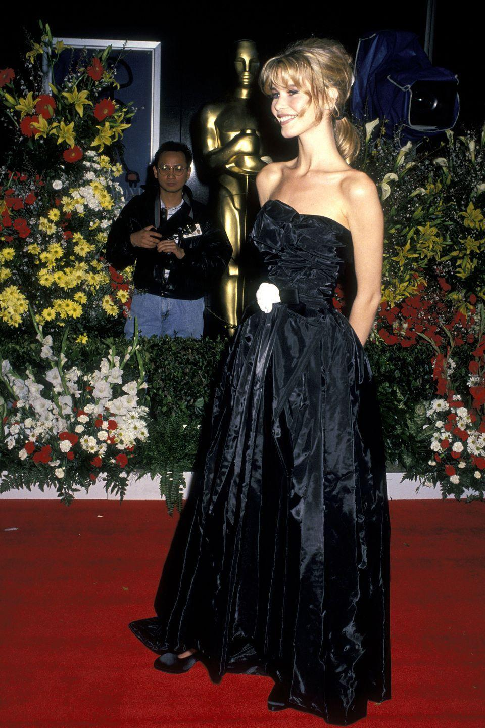<p>This is at the Oscars and is an incredible full-length Chanel gown which was made out of an umbrella fabric! I still have it in my archive wardrobe.</p>