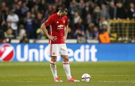 Manchester United's Zlatan Ibrahimovic looks dejected