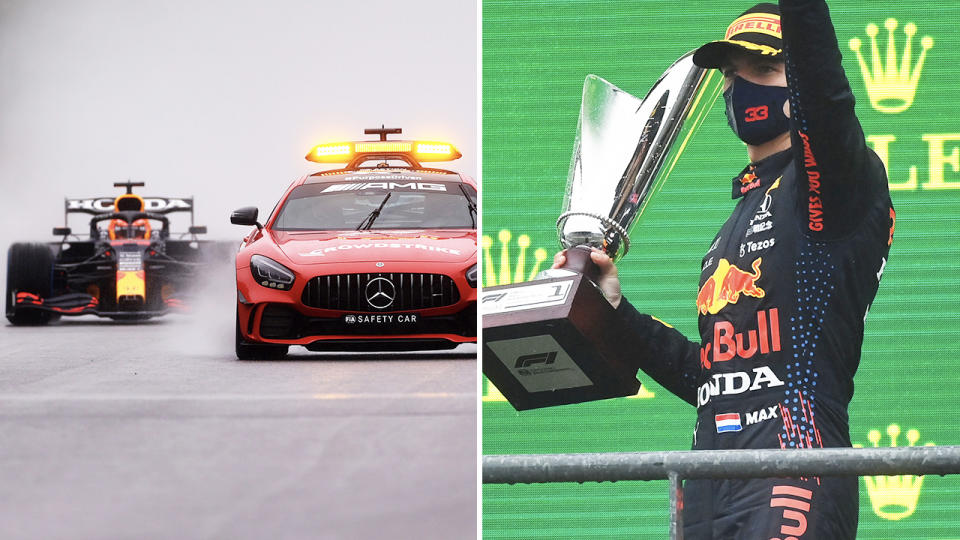 Max Verstappen, pictured here celebrating his victory at the Belgian Grand Prix.