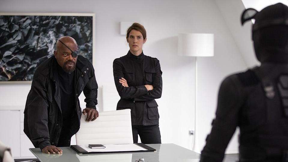 Nick Fury and Maria HIll are not who they seem (Credit: Sony)