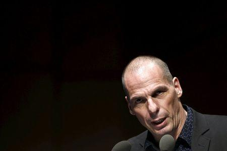 Greek Finance Minister Varoufakis delivers a speech during an economic conference in Athens
