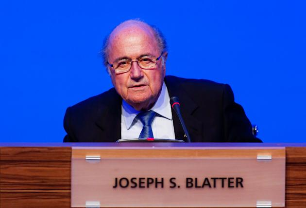 President of FIFA Joseph Blatter speaks following the 64th FIFA Congress, at the Expocenter Transamerica in Sao Paulo, Brazil. (Alexandre Schneider/Getty Images)