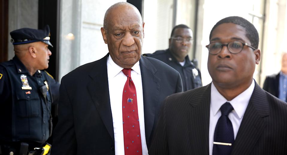 Bill Cosby comes out of the courthouse after the guilty verdict is read on April 26, 2018. (Photo: Dominick Reuter / AFP/ Getty Images)