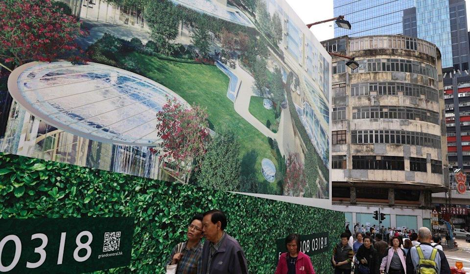 A billboard for Sino Land's Grand Central project in Kwun Tong. Photo: Sam Tsang